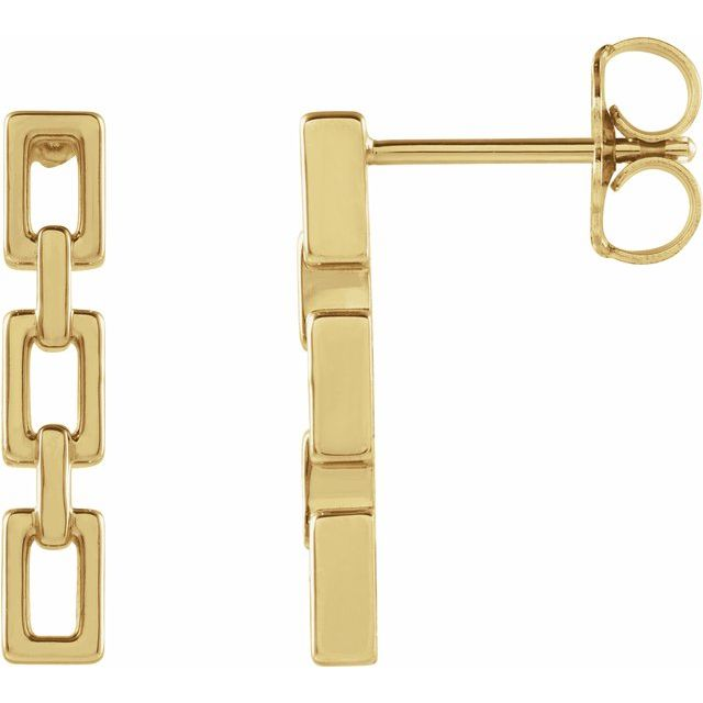 yellow gold chain link earrings