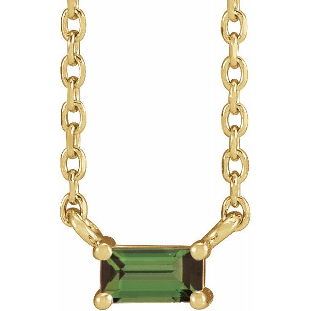 Green tourmaline yellow necklace