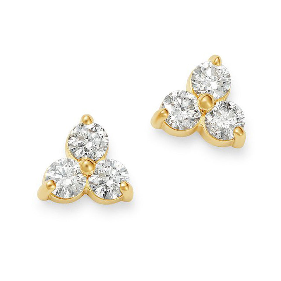 3 stone diamond yellow gold earrings