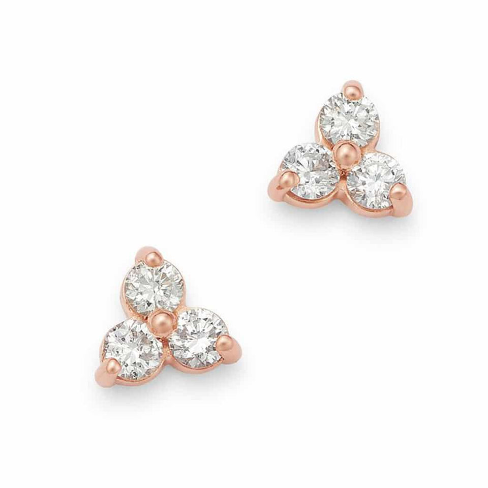 3-stone rose gold diamond earrings