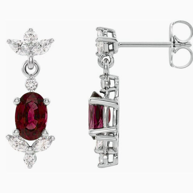 Natural Ruby earrings with Diamonds