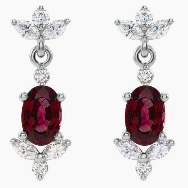 Ruby Diamond Drop Luxury Earrings