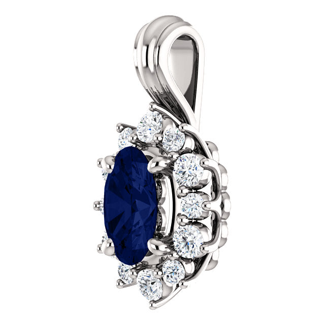 Oval Sapphire Pendant with Diamonds