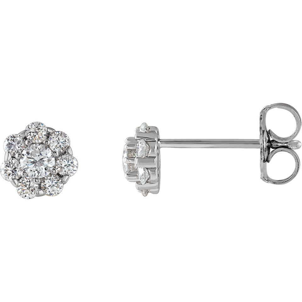 Button Diamond Earrings