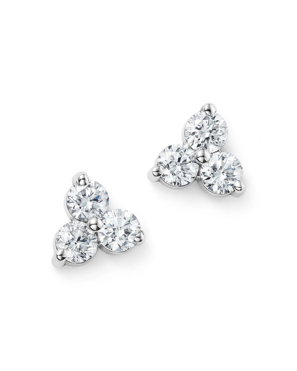 3-stone diamond white earrings