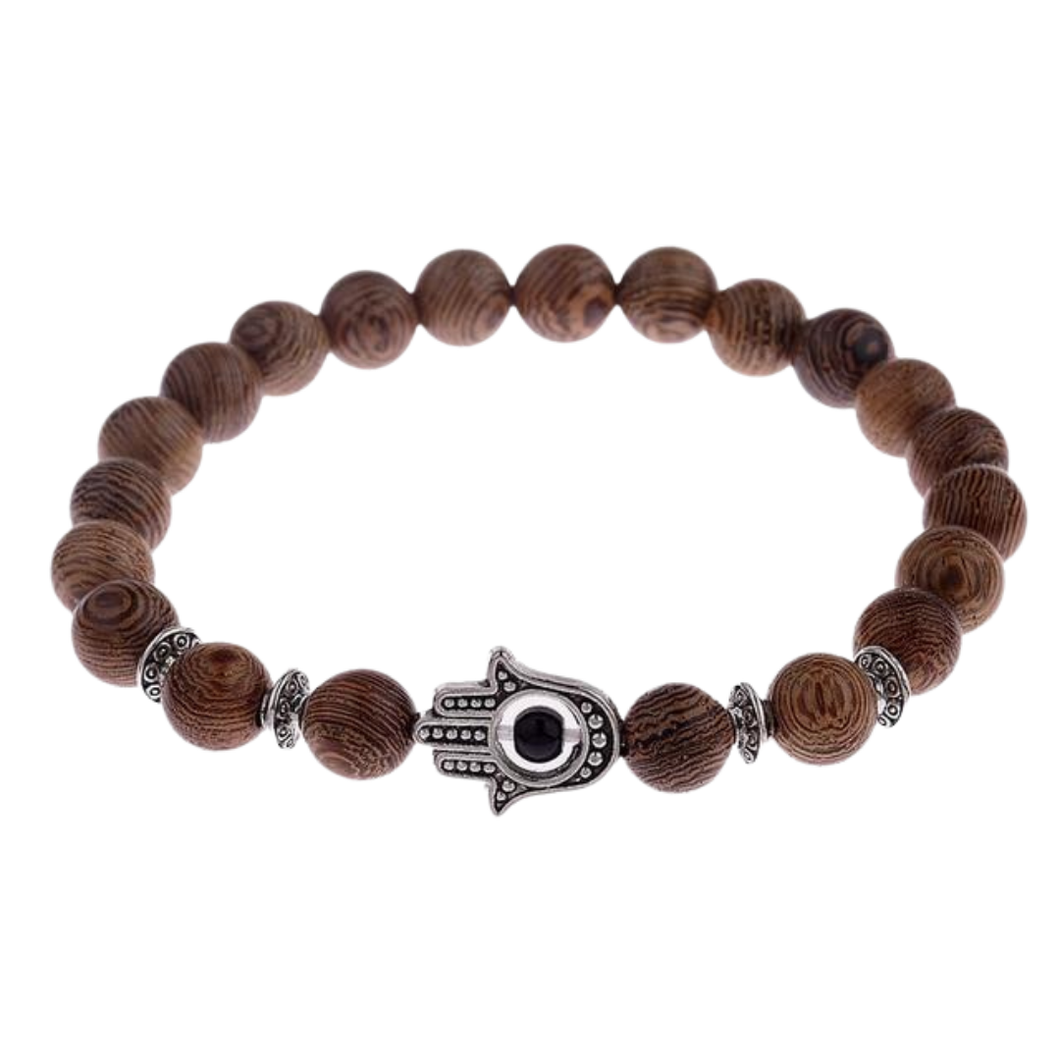 Double DD Natural Wood and silver Beads Bracelets