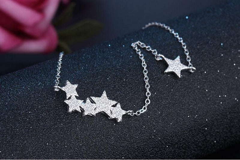 Double DD 925 Sterling Silver Crystal Stars Necklaces &
