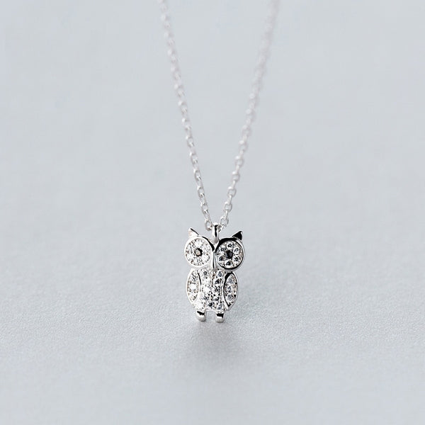 Double DD 925 Sterling Silver Cute Owl Necklace