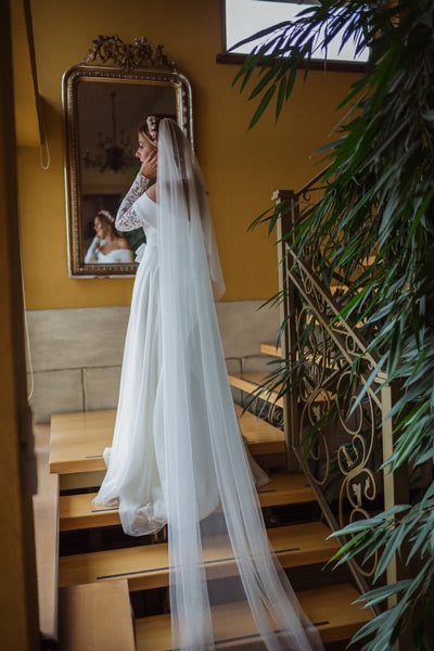 bride on staircase models cathedral wedding veil style