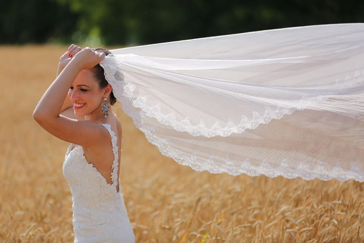 bride models long lace wedding veil styles