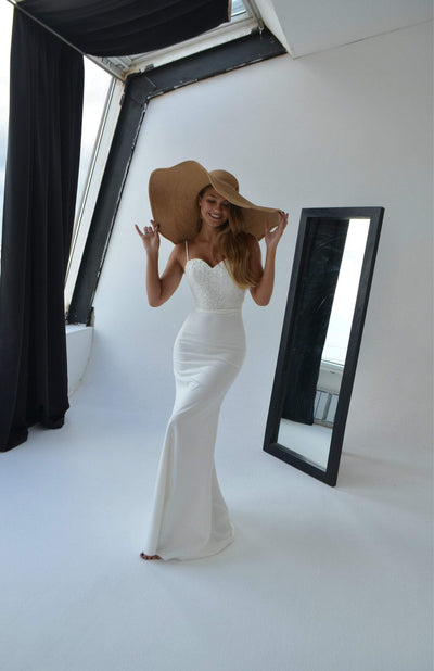 "Minimalist mermaid ""Selena"" by Olivia Bottega with  fabric crepe and sequins top - oliviabottega"