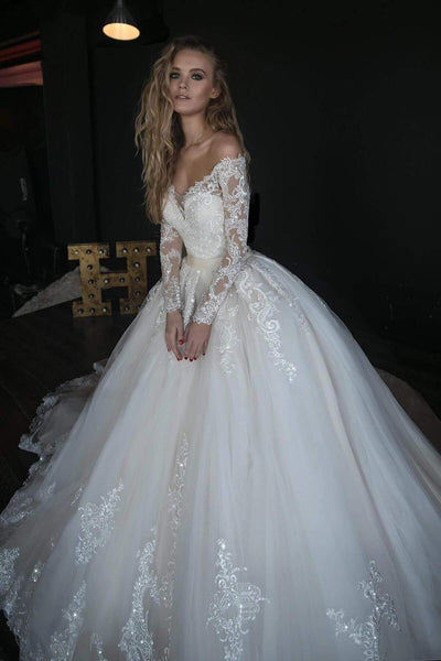 Wedding dress OB7962 whole dress by Olivia Bottega, sequins bodies and ball skirt with lace and trail - oliviabottega