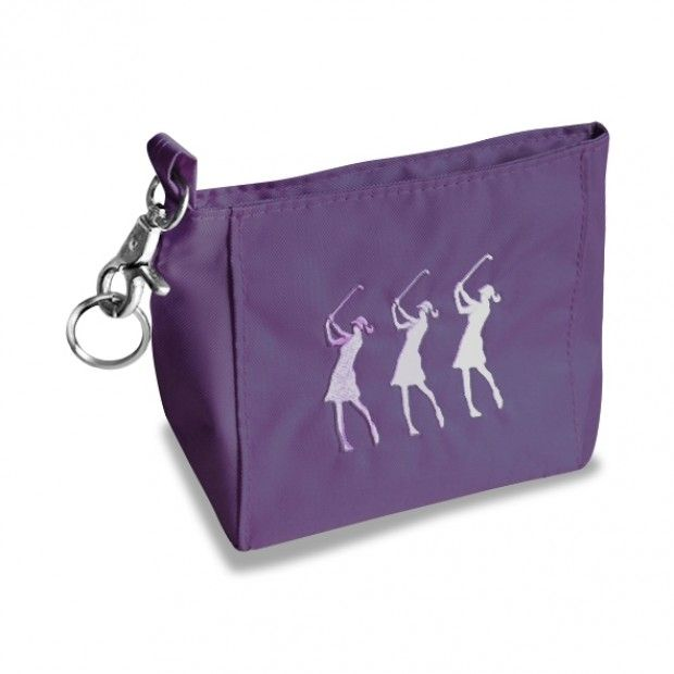SURPRIZESHOP EMBROIDERED LADY GOLFER HANDBAG PURLE