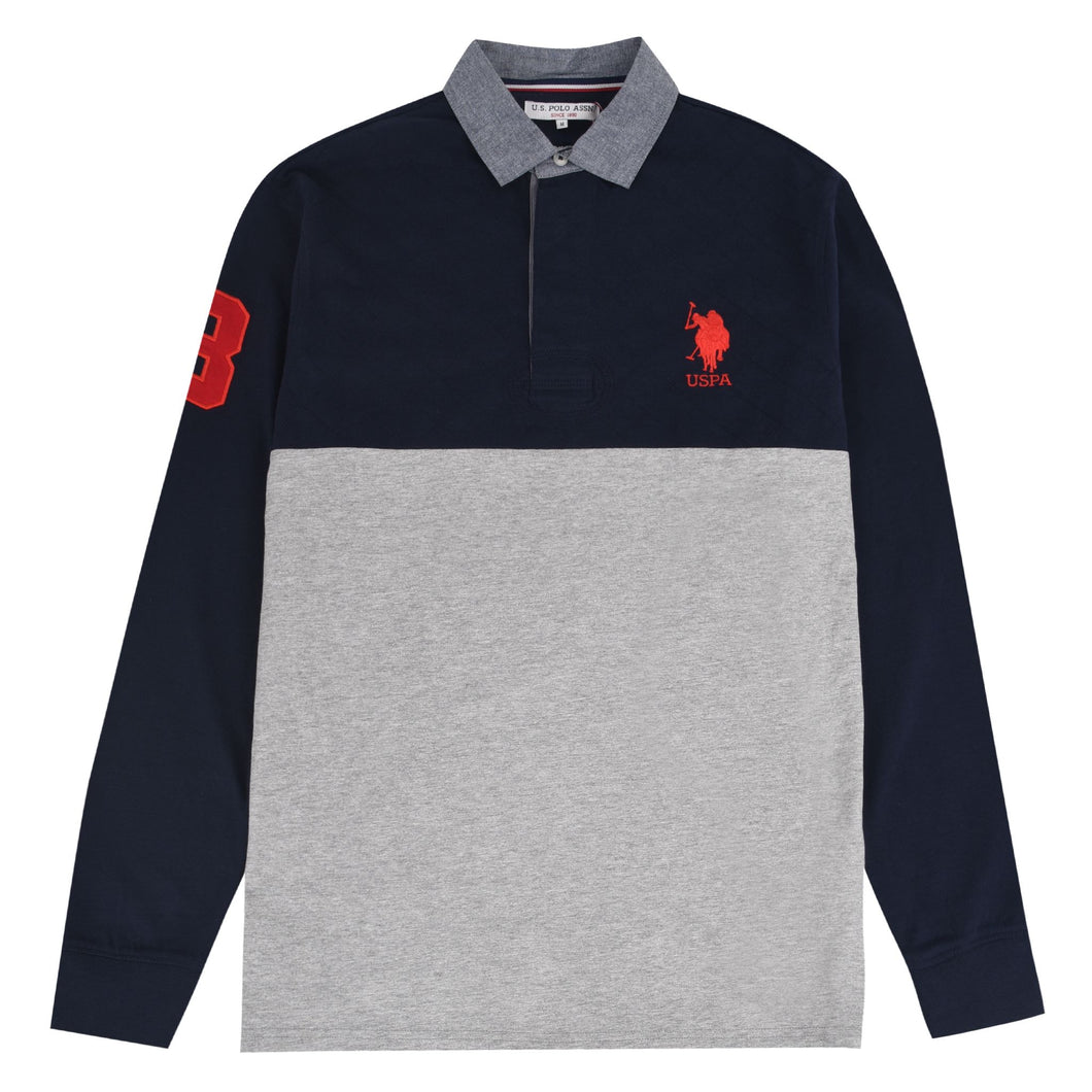 USPA MENS QUILTED LONG SLEEVE RUGBY TOP NAVY/GREY