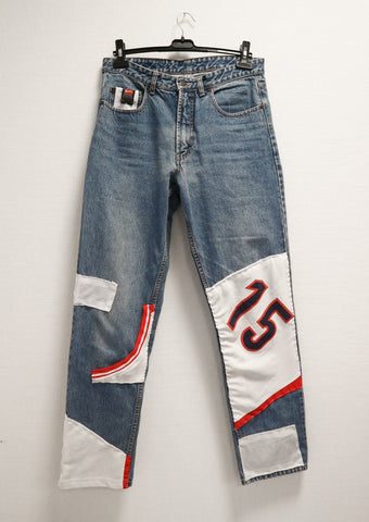 Reworked basketball jersey dad jeans L