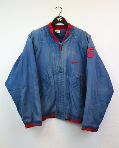 RARE Nike Denim Bomber Jacket M-Coats & Jackets-Thrift On Store