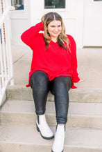 Load image into Gallery viewer, Red Hot Waffle Knit Sweater