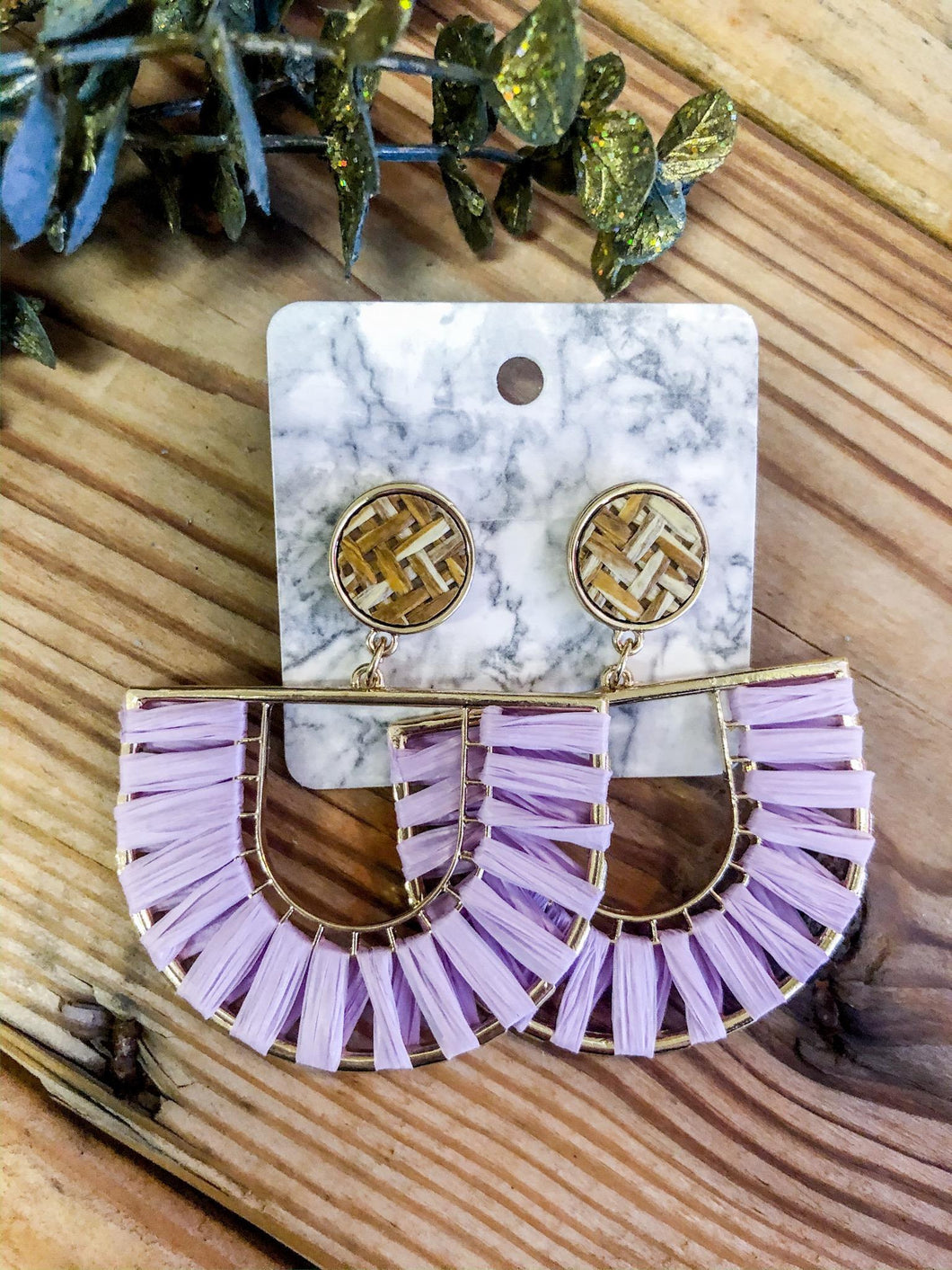 Lavender Half Circle Earrings