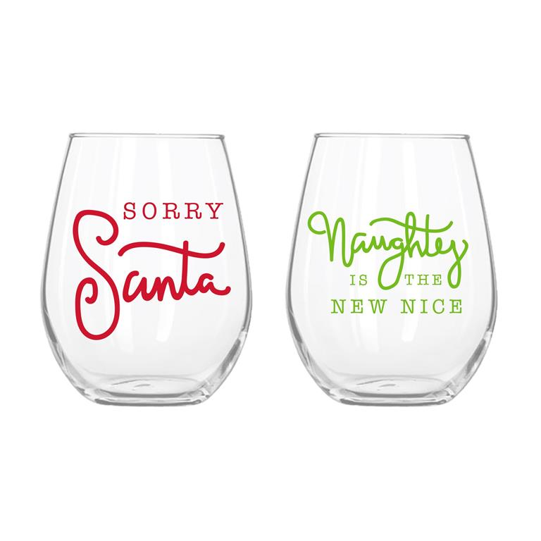 Santa/Naughty Stemless Wine Glass (SET)