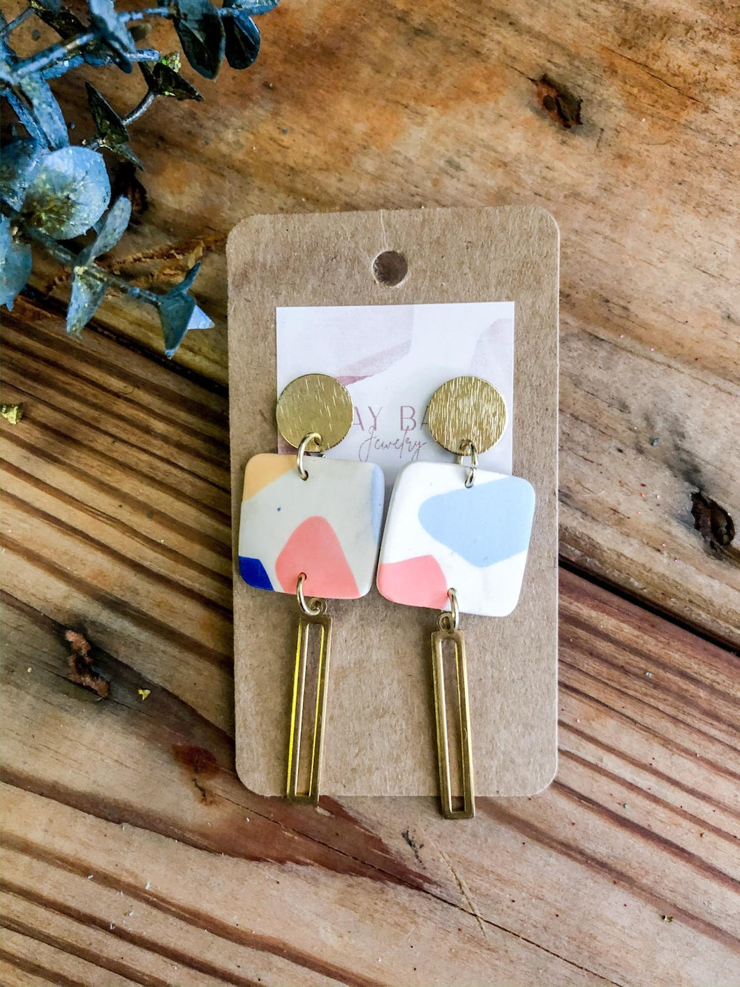 Pastel Square Clay Earrings