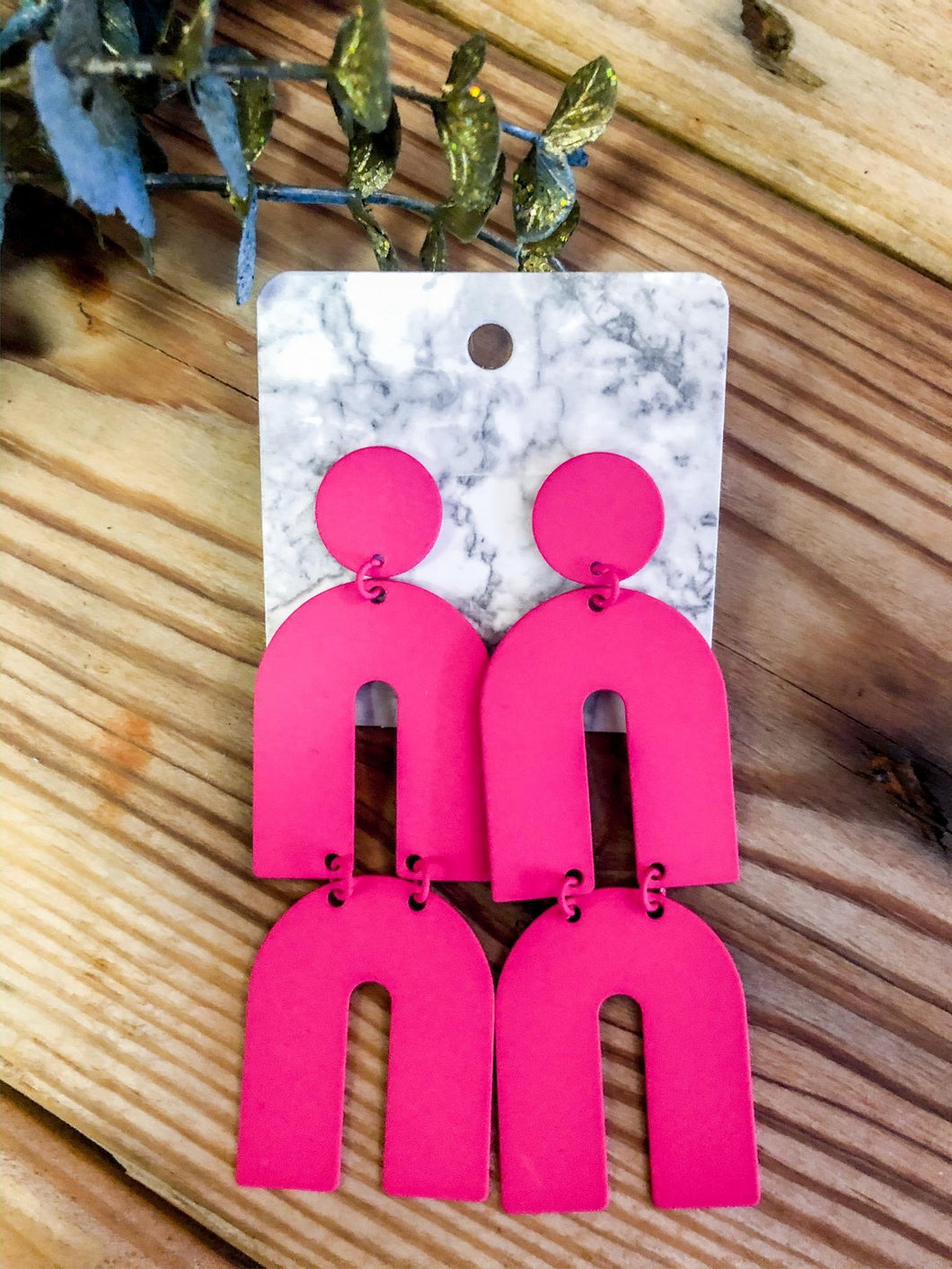 Hot Pink Arch Earrings
