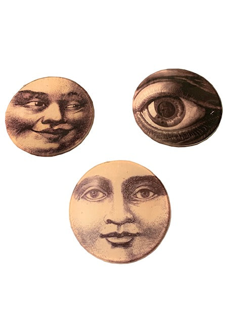 Man in the Moon Face Set of 3 Glass Trays