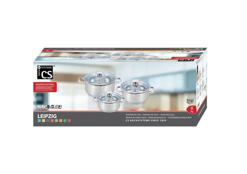 Leipzig 6 Piece Cookware Set Stainless Steel