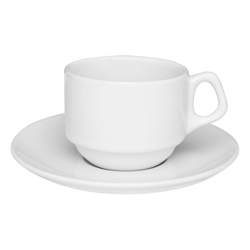 Oxford Cup & Saucer Porcelain White Large