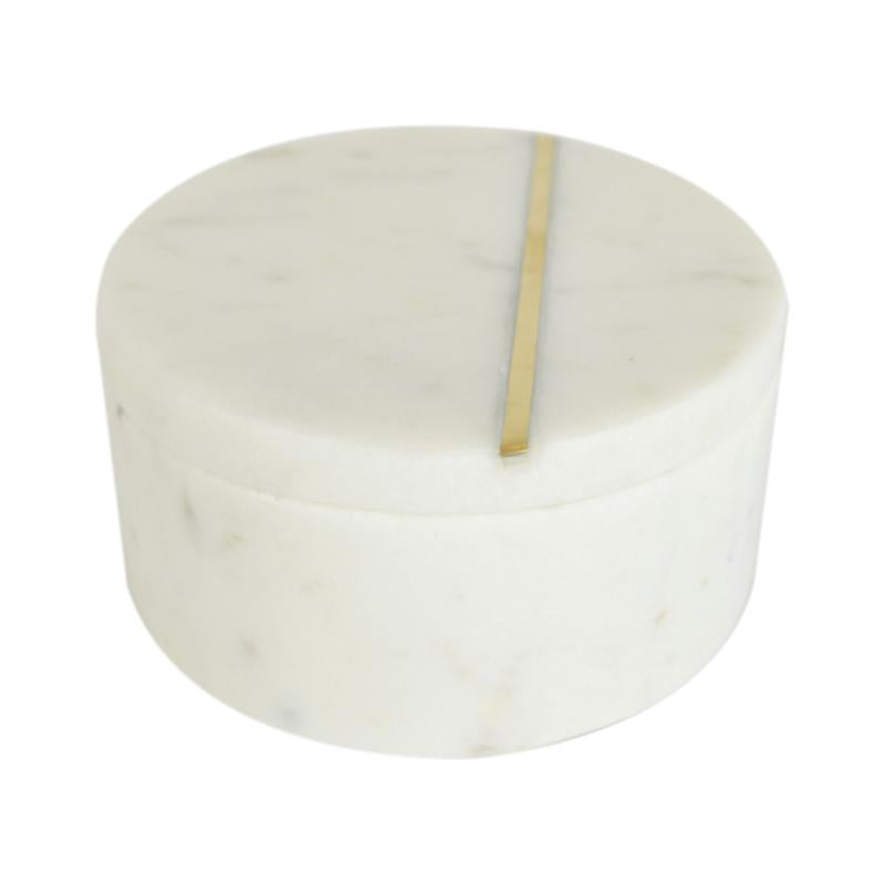 Marble Inlay Trinket Box White/Gold