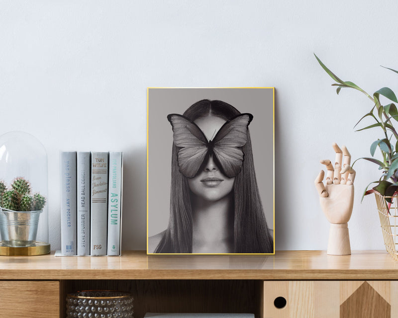 Butterfly Woman Wall Art Slim Frame Gold