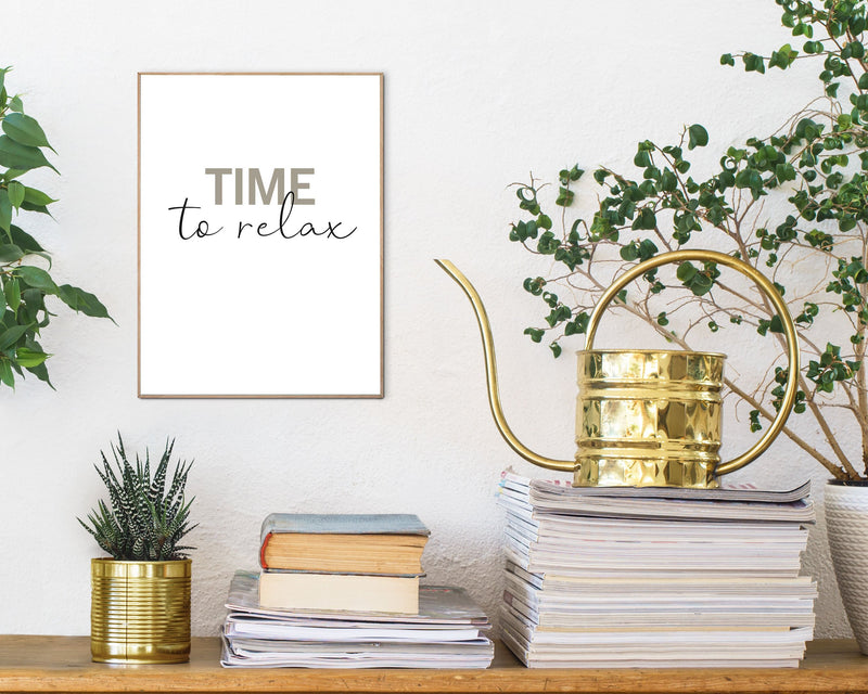 Time To Relax Wall Art Slim Frame Wood
