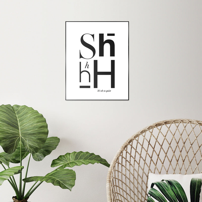 Shhh Wall Art Slim Frame Black