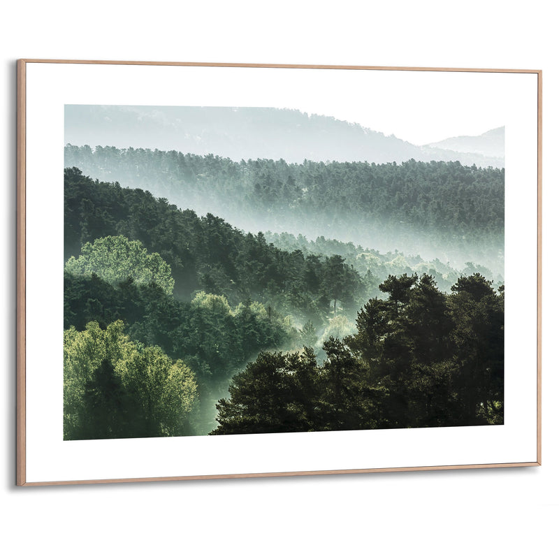 Mountain Scape Wall Art Slim Frame Wood