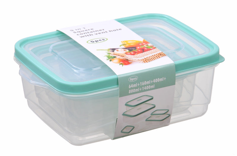 5-In-1 Vented Rectangle Food Storage Container 5pc