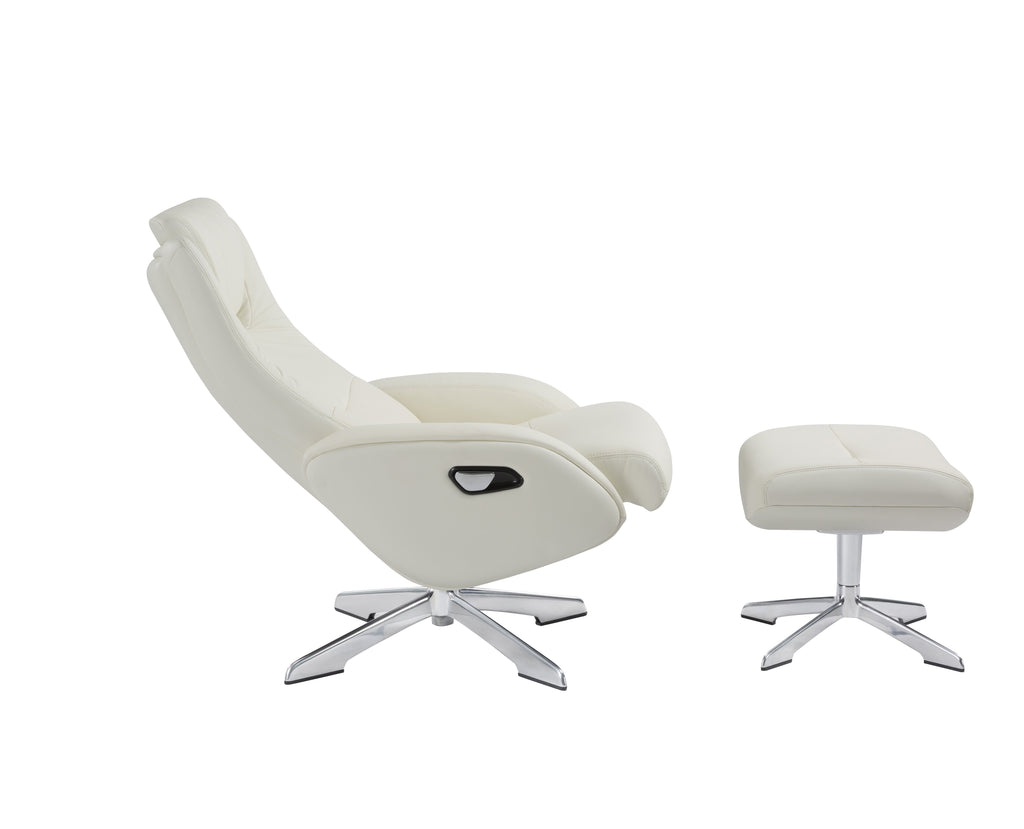 Picture of: Maya Recliner Chair Footstool 96x77x53 Leather Cream