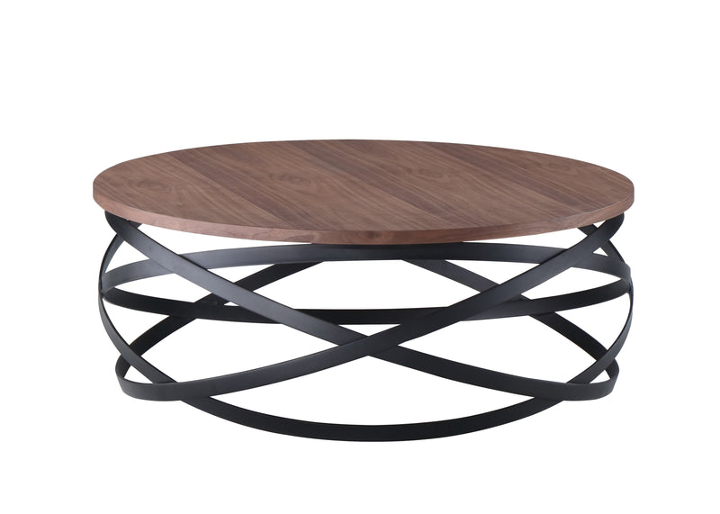 Marina Coffee Table 80x8035cm Ash Veneer Finished In Rustic Brown With Black Legs