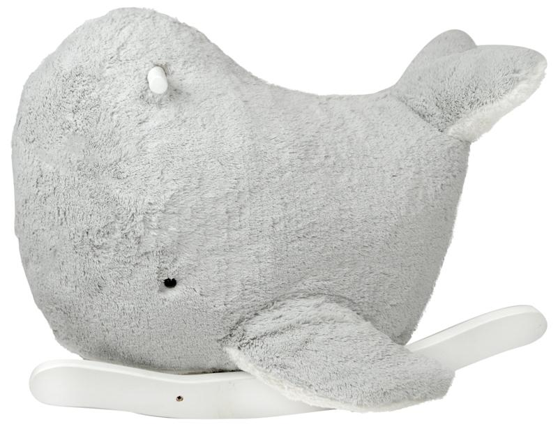 Plush Grey Rocking Whale