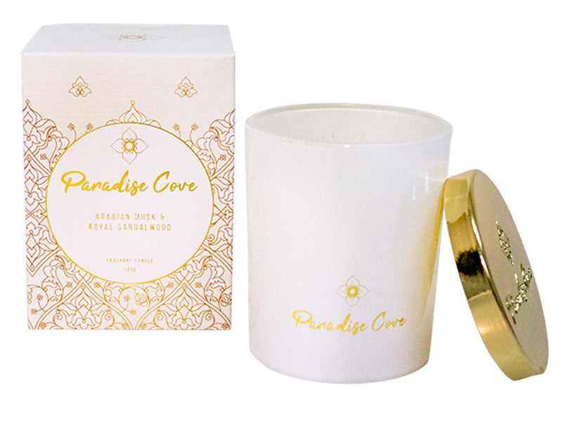 100G Paradise Cove Candle - Arabian Musk & Royal Sandalwood.