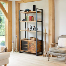 Shoreditch Open Bookcase With Storage Cupboard - The Orchard Home and Gifts