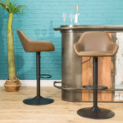 Baxter Chesnut Brown Gas Lift Set of Two Kitchen Bar Stools