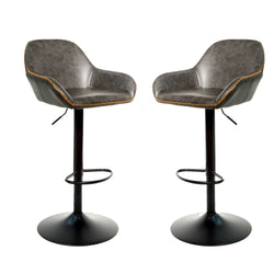 Baxter Grey Gas Lift Set of Two Kitchen Bar Stools