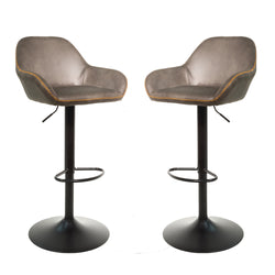 Baxter Moleskin Mussel Brown/Grey Gas Lift Set of Two Kitchen Bar Stools