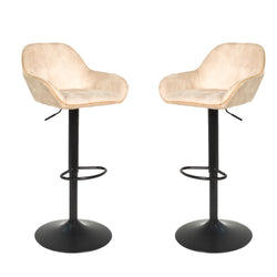Baxter Moleskin Oyster Cream Gas Lift Set of Two Kitchen Bar Stools
