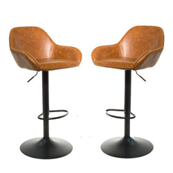Baxter Tan Brown Gas Lift Set of Two Kitchen Bar Stools