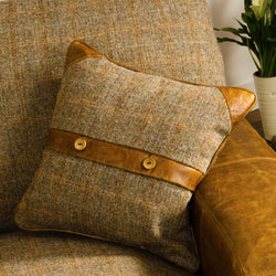 Belt and Button Cushion Harris Tweed & Brown Cerato Leather