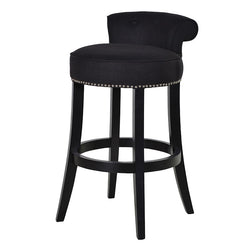 Black Upholstered Roll Top Bar Kitchen Dining Stool