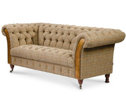 Bretby Two Seater Sofa Brown Cerato Leather and Gamekeeper Thorn Tweed