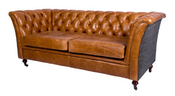 Brown Cerato Leather and Uist Night Harris Tweed Caesar Two Seater Chesterfield Sofa