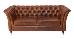 Brown Cerato Leather Caesar Two Seater Chesterfield Sofa