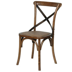 Dark Elm Steel X-back Dining Chair